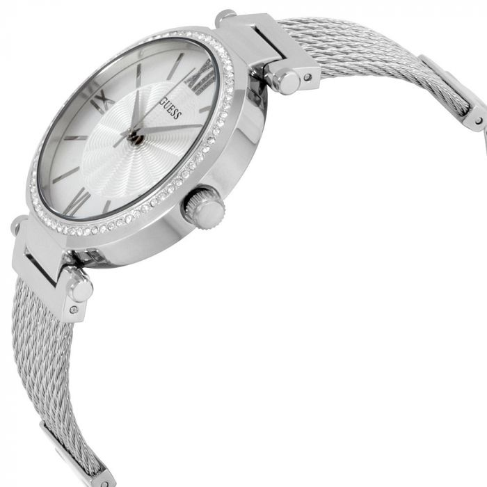 Guess Sophisticated Modern Woven Silver-Tone Women's Watch U0638L1