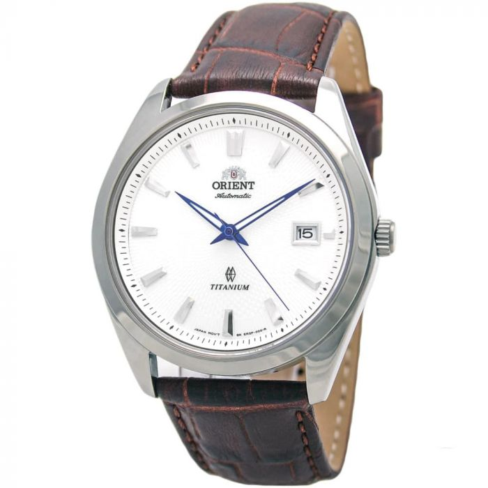 Orient Titanium Automatic Sapphire Brown Leather Men's Watch FER2F004W0