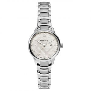 Burberry The Classic Round Silver Tone Swiss Stainless Steel Watch BU10108