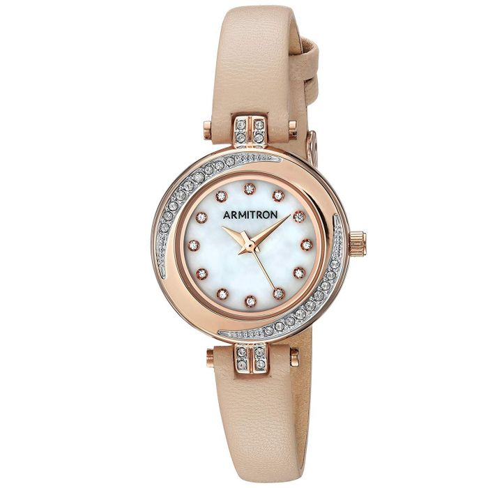 Armitron Swarovski Crystal Blush Pink Leather Women's Watch 75/5542MPRGBH
