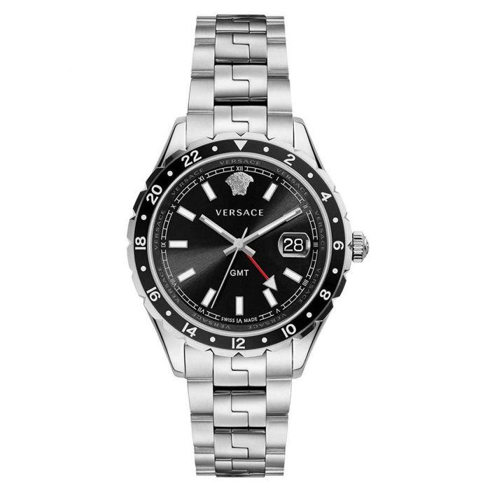 Versace Hellenyium GMT Swiss Quartz Stainless Steel Black Dial Men's Watch V11100017