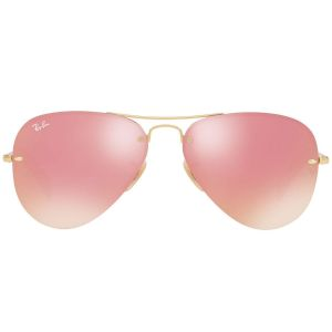 Ray-ban Pink Rimless Aviator Sunglasses RB3449 001/E4 59-14