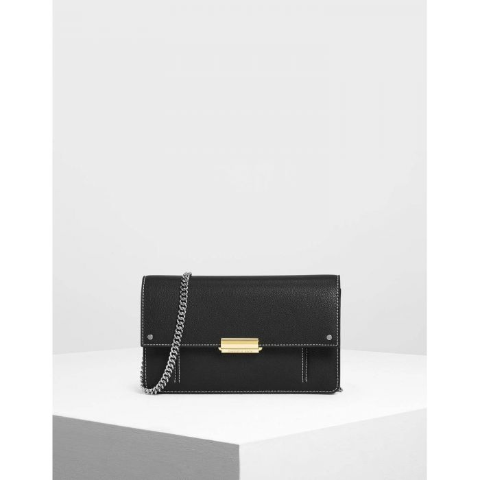 Charles & Keith Chain Black Push-lock Women's Wallet CK6-10840159
