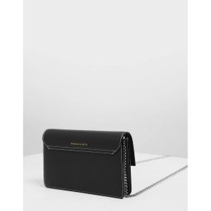 Charles & Keith Chain Black Push-lock Women's Wallet CK6-10840159