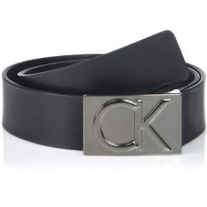 Calvin Klein Flat Strap Smooth Gunmetal Matte Leather Men's Belt 75452-BLK 38mm