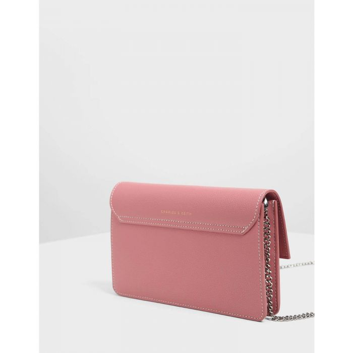 Charles & Keith Chain Pink Push-lock Women's Wallet CK6-10840159