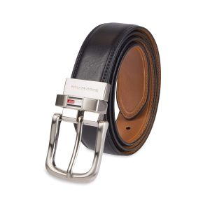 Tommy Hilfiger Reversible Leather Belt Double Sided Strap Silver Buckle Men's Belt 11TL02X188 090 Black/Tan Stitch