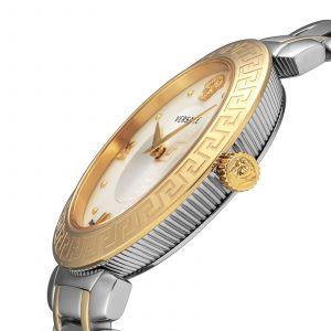 Versace Daphnis Mặt Tròn Khảm Trai Dây Kim Loại Màu Bạc Pha Vàng V16060017
