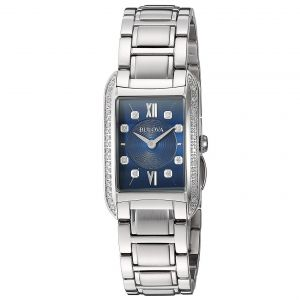 Bulova Diamond Blue Dial Stainless Steel Women's Watch 96R211