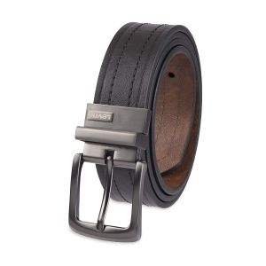Levi's Reversible Leather Belt Double Sided Strap Silver Buckle Men's Belt 11LV2223 206 Black Brown