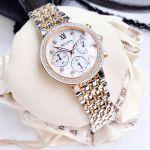 Bulova Diamond Chronograph Demi Vàng Hồng Mặt Tròn Màu Bạc Dây Kim Loại Lịch Ngày 98R215