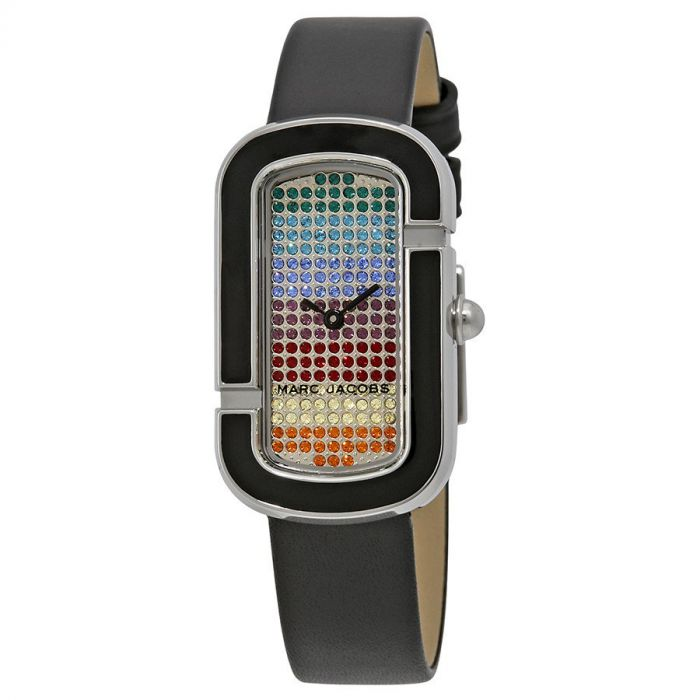 Marc Jacobs The Jacobs Rainbow Pave Black Leather Women's Watch MJ1569