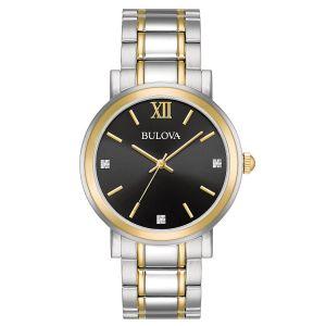 Bulova Diamond Black Dial Two Tone Stainless Steel Men's Watch 98D138