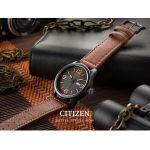 Citizen Eco-Drive Mặt Tròn Màu Đen Dây Da Màu Nâu Lịch Ngày Thứ BM8475-26E