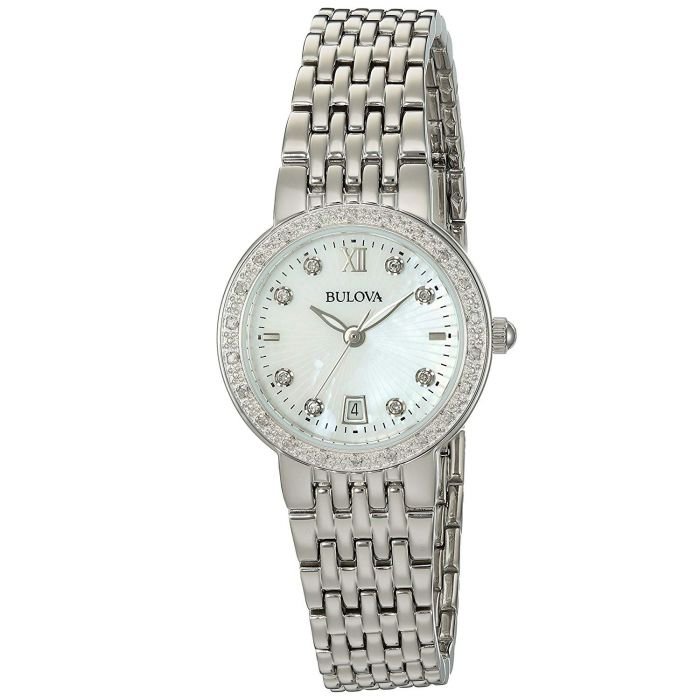 Bulova Diamond Mother of Pearl Stainless Steel Women's Watch 96R203