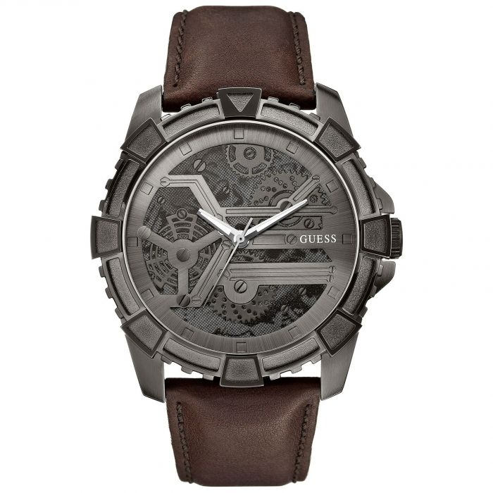 Guess Dynamic Brown Leather Men's Watch U0274G1