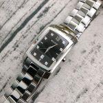 Bulova Diamond Mặt Chữ Nhật Màu Đen Dây Kim Loại Màu Bạc Lịch Ngày 96D125