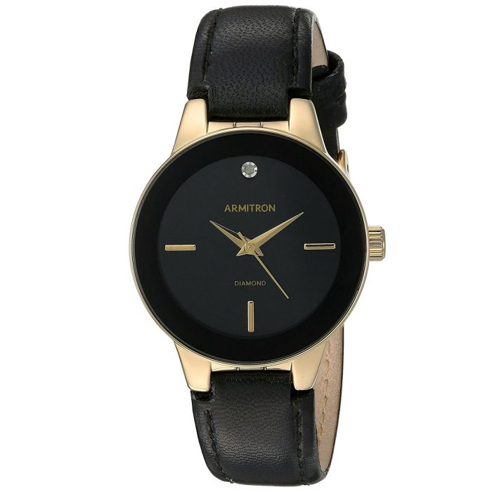Armitron Diamond Accented Black Leather Strap Women's Watch 75/5410BKGPBK