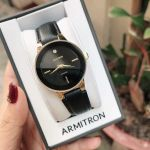 Armitron Diamond Accented Black Leather Strap Women's Watch 75/5410BKGPBK