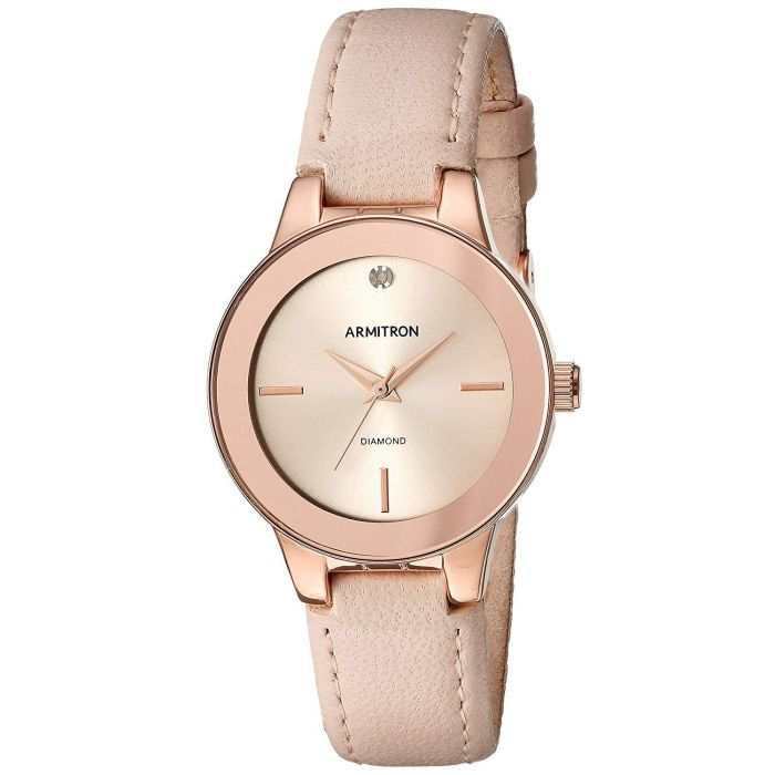 Armitron Diamond Accented Pink Leather Strap Women's Watch 75/5410RSRGBH