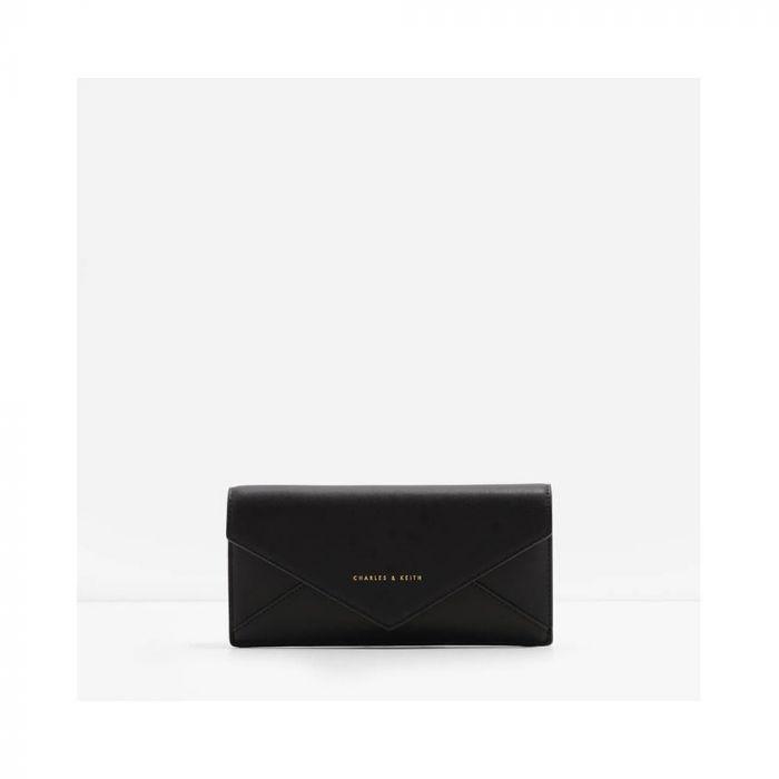 Charles & Keith Long Casual Envelope Flap Black Women's Wallet CK6-10680451