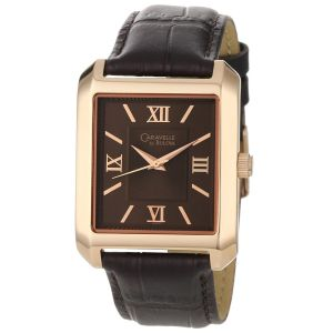 Caravelle by Bulova Roman Numeral Scheme Black Leather Men's Watch 44A100
