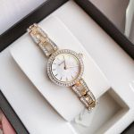 Bulova Crystal Mother of Pearl Gold Tone Women's Watch 98L213