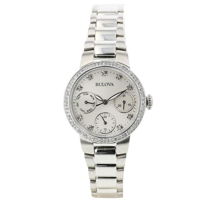 Bulova Crystal Accented Silver Women's Watch 96N108