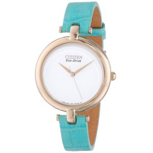 Citizen Silhouette Blue Leather Eco - Drive Women's Watch EM0253-20A