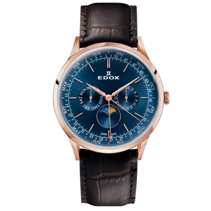 Edox Les Vauberts Moon Phase Men's Watch 40101-37RC-BUIR