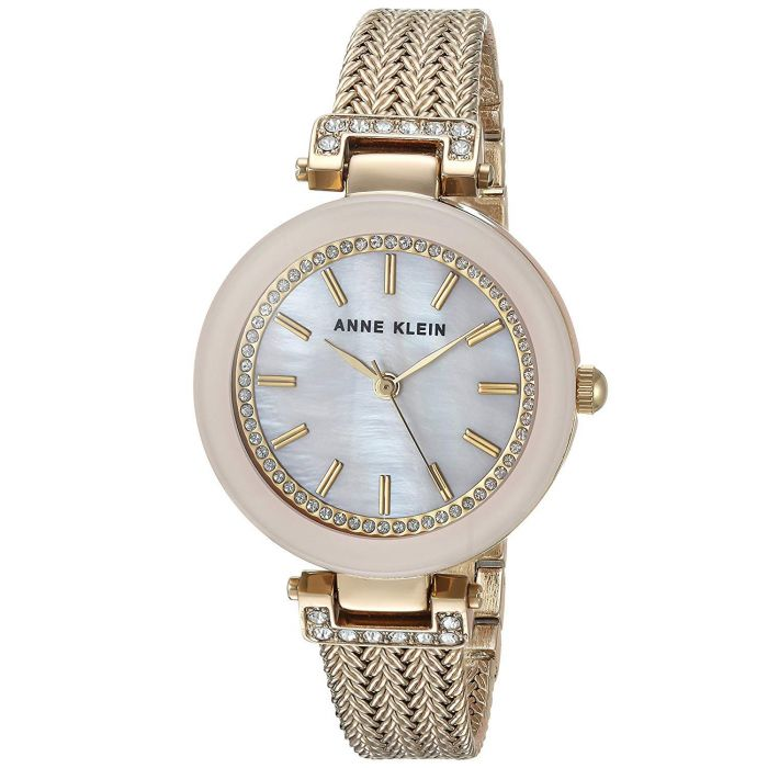 Anne Klein Swarovski Crystal Mesh Pink Blush Women's Watch AK/1906PMGB