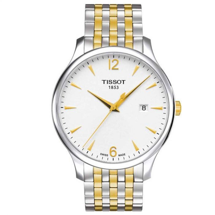 Tissot T-Classic Tradition Mặt Tròn Màu Trắng Dây Kim Loại Màu Bạc Pha Vàng Lịch Ngày T063.610.22.037.00