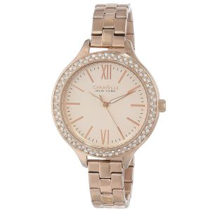 Caravelle New York Carla Swarvoski Crystal Rose Gold Women's Watch 44L125