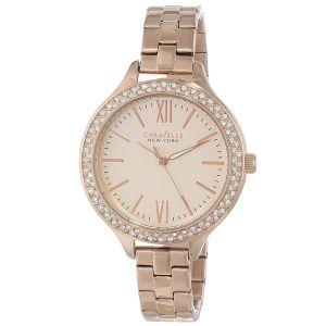 Caravelle New York Carla Swarvoski Crystal Rose Gold Women's Watch 44L125