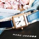 Marc Jacobs Vic Mặt Vuông Viền Vàng Hồng Dây Da Màu Xanh MJ1546