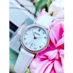 Bulova Crystal Mother of Pearl White Leather Women's Watch 96L245