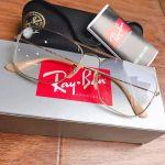 Ray-ban Gradient Dáng Vuông Lens Xanh Gọng Kim Loại Màu Vàng RB3603 001/19 56