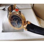 Versace Leda Mother of Pearl Black Leather Women's Watch VNC200017