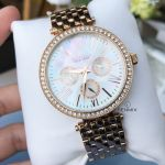 Caravelle New York Glitz Mother of Pearl Day Date Women's Watch 44N101