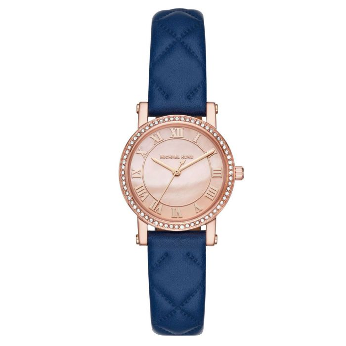 Michael Kors Petite Norie Rose Gold Tone and Blue Leather Women's Watch MK2696