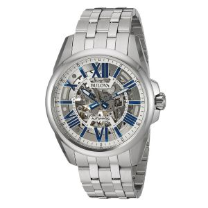 Bulova Automatic Movement Blue Skeleton Men's Watch 96A187