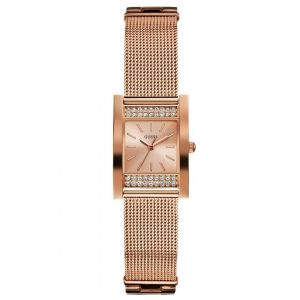 Guess Crystallized Mesh Band Rectangular Women's Watch U0127L3