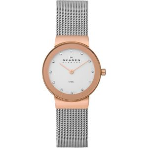 Skagen Freja White Dial Stainless Steel Mesh Casual Women's Watch 358SRSC