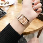 Guess Crystallized Mesh Band Rectangular Women's Watch U0127L3