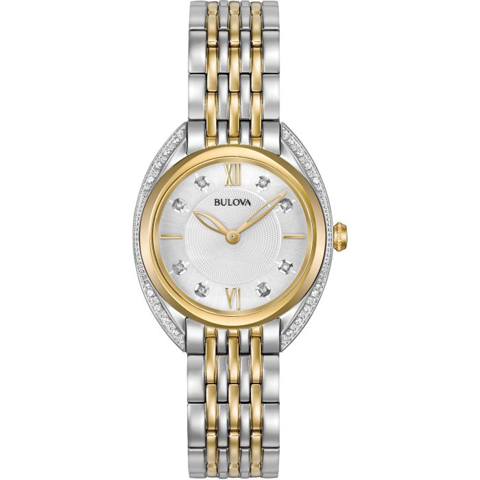 Bulova Classic Diamond Two Tone Bracelet Women's Watch 98R229