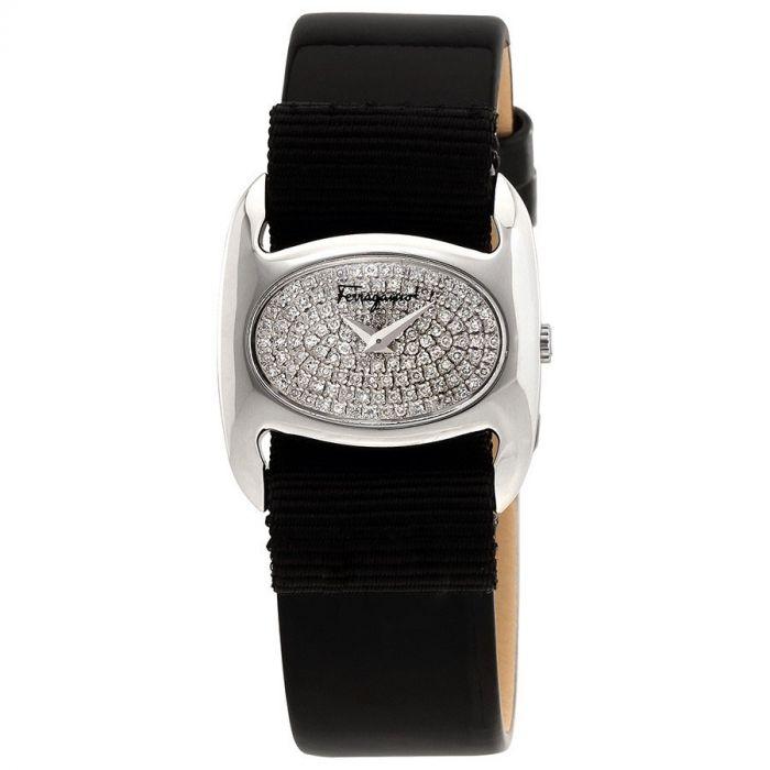 Salvatore Ferragamo Varina Diamond Pave Mặt Bầu Dục Màu Bạc Dây Da Màu Đen FIE060015