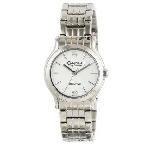 Caravelle Bulova Diamond Round Silver Tone Women's Watch 43P109