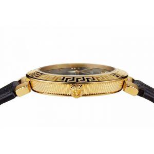 Versace Daphnis Mặt Tròn Viền Vàng Dây Da Màu Đen V16050017