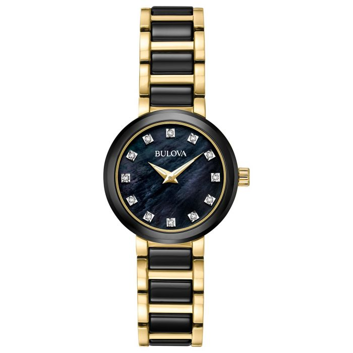 Bulova Mother of Pearl Stainless Steel and Ceramic Two Tone Women's Watch 98P159