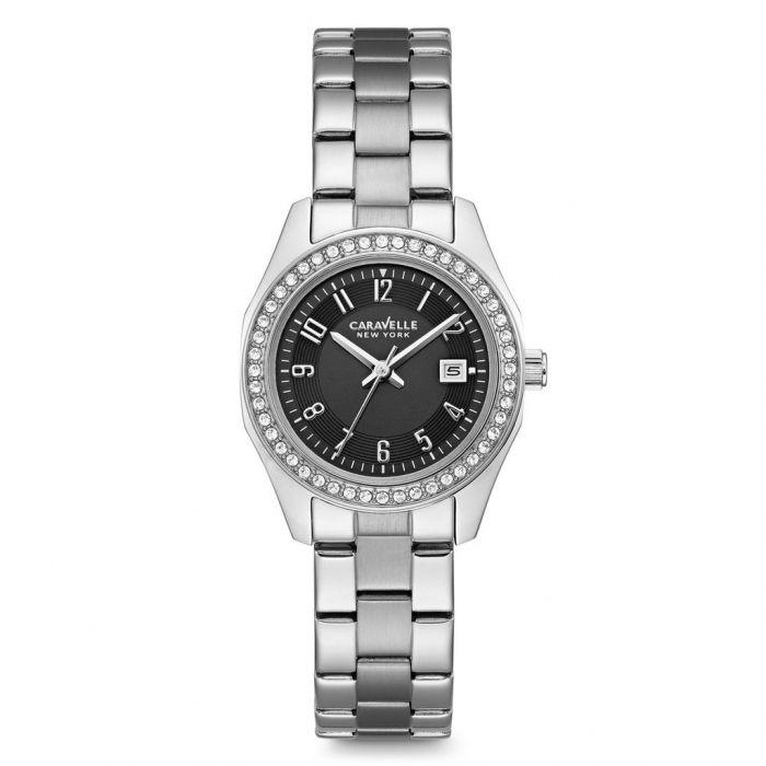 Caravelle New York Swarovski Crystal Black Dial Stainless Steel Women's Watch 43M113